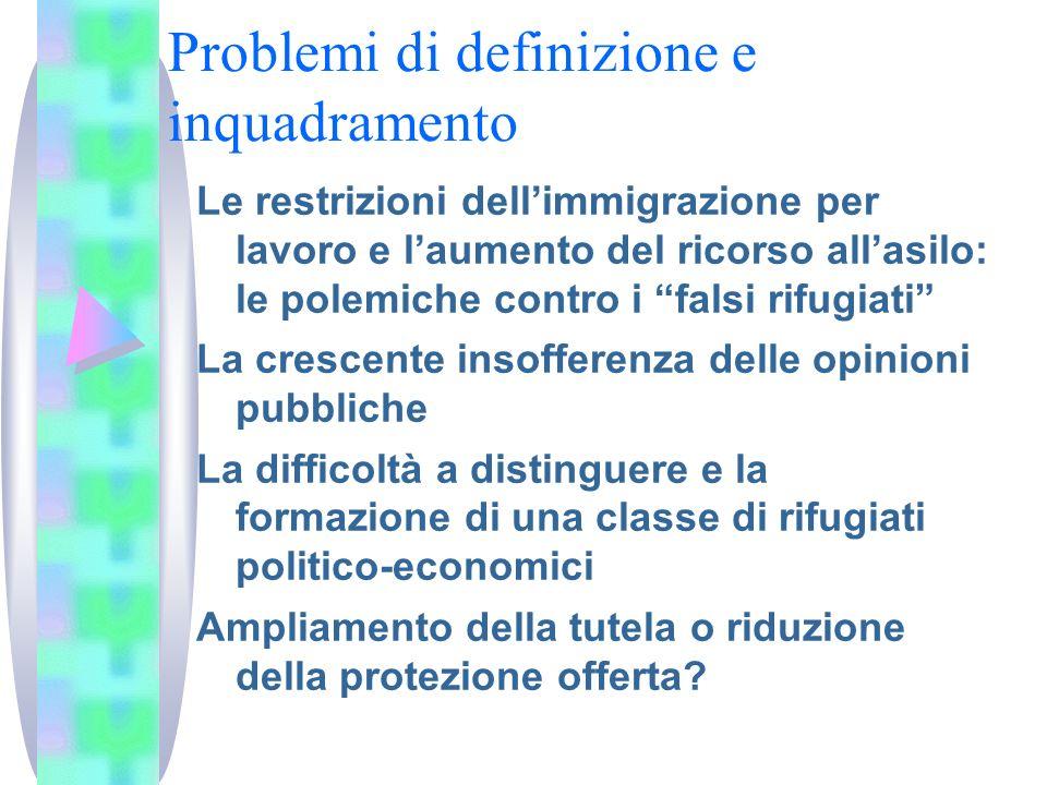 Problemi di definizione e inquadramento Le restrizioni dellimmigrazione per lavoro e laumento del ricorso allasilo: le polemiche contro i falsi rifugi