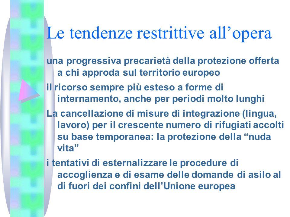 Le tendenze restrittive allopera una progressiva precarietà della protezione offerta a chi approda sul territorio europeo il ricorso sempre più esteso