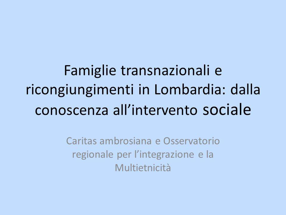 Famiglie transnazionali e ricongiungimenti in Lombardia: dalla conoscenza allintervento sociale Caritas ambrosiana e Osservatorio regionale per lintegrazione e la Multietnicità