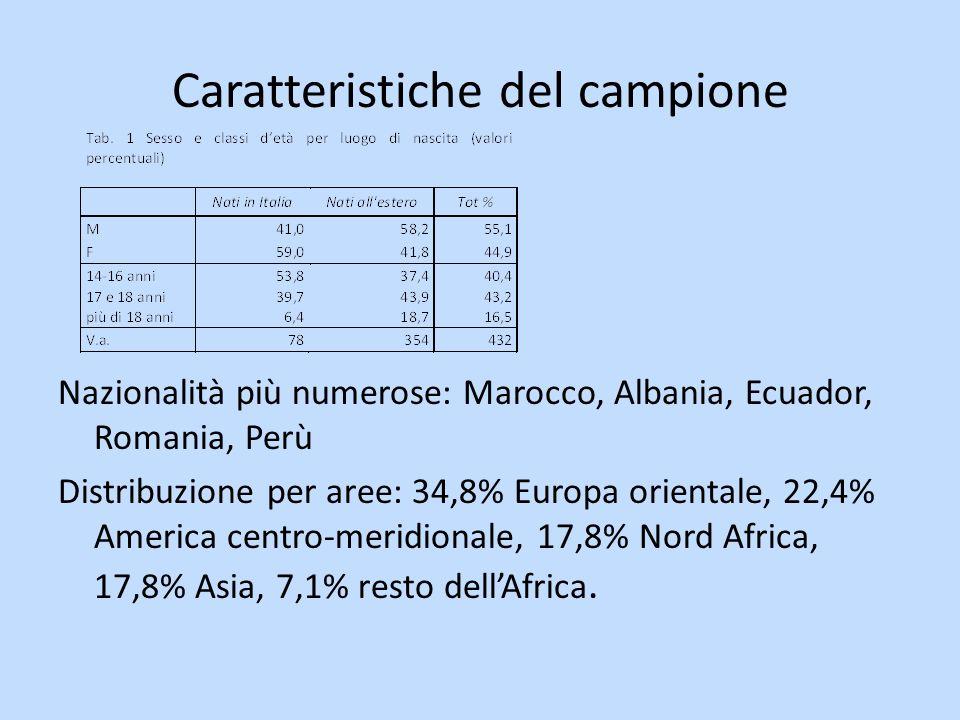 Caratteristiche del campione Nazionalità più numerose: Marocco, Albania, Ecuador, Romania, Perù Distribuzione per aree: 34,8% Europa orientale, 22,4% America centro-meridionale, 17,8% Nord Africa, 17,8% Asia, 7,1% resto dellAfrica.
