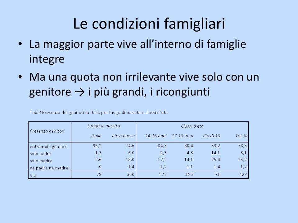 Le condizioni famigliari La maggior parte vive allinterno di famiglie integre Ma una quota non irrilevante vive solo con un genitore i più grandi, i ricongiunti
