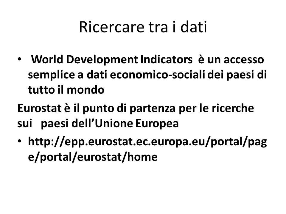 Ricercare tra i dati World Development Indicators è un accesso semplice a dati economico-sociali dei paesi di tutto il mondo Eurostat è il punto di partenza per le ricerche sui paesi dellUnione Europea http://epp.eurostat.ec.europa.eu/portal/pag e/portal/eurostat/home