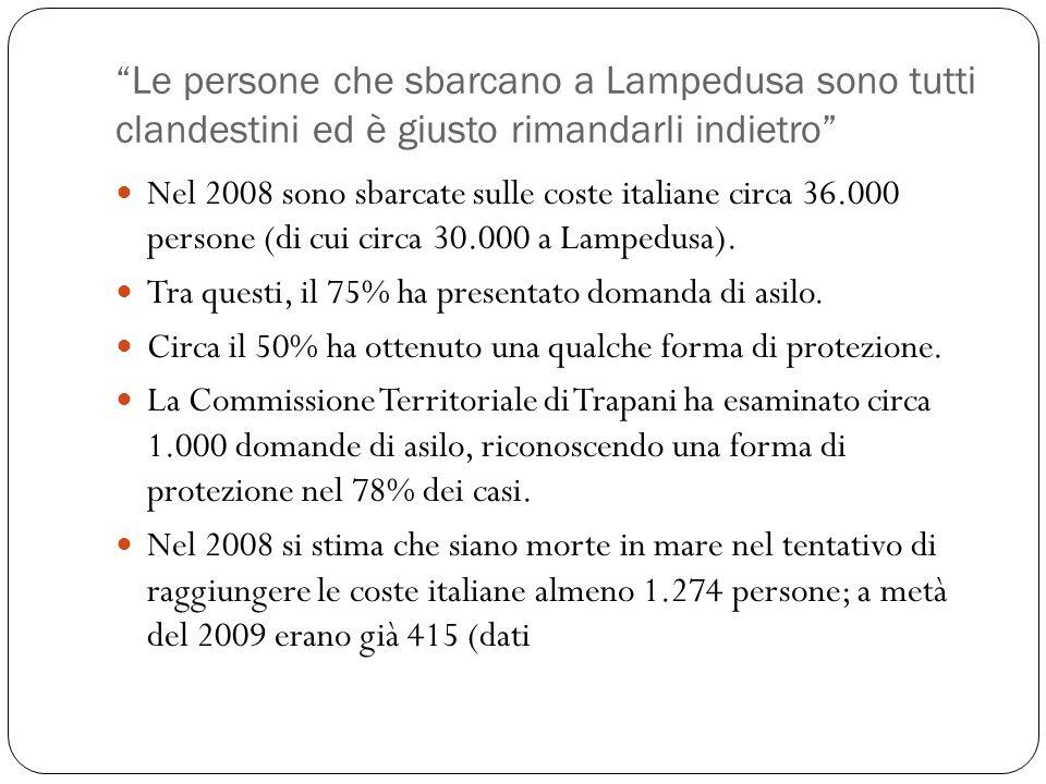 Le persone che sbarcano a Lampedusa sono tutti clandestini ed è giusto rimandarli indietro Nel 2008 sono sbarcate sulle coste italiane circa 36.000 pe