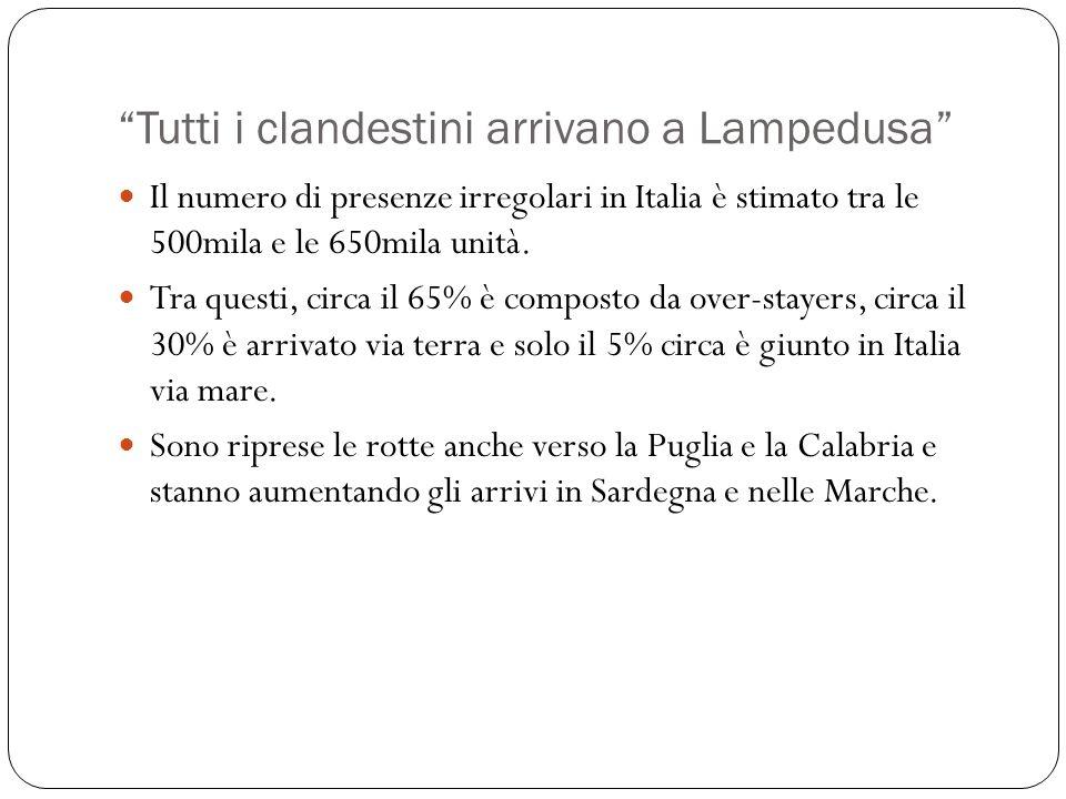 Tutti i clandestini arrivano a Lampedusa Il numero di presenze irregolari in Italia è stimato tra le 500mila e le 650mila unità. Tra questi, circa il