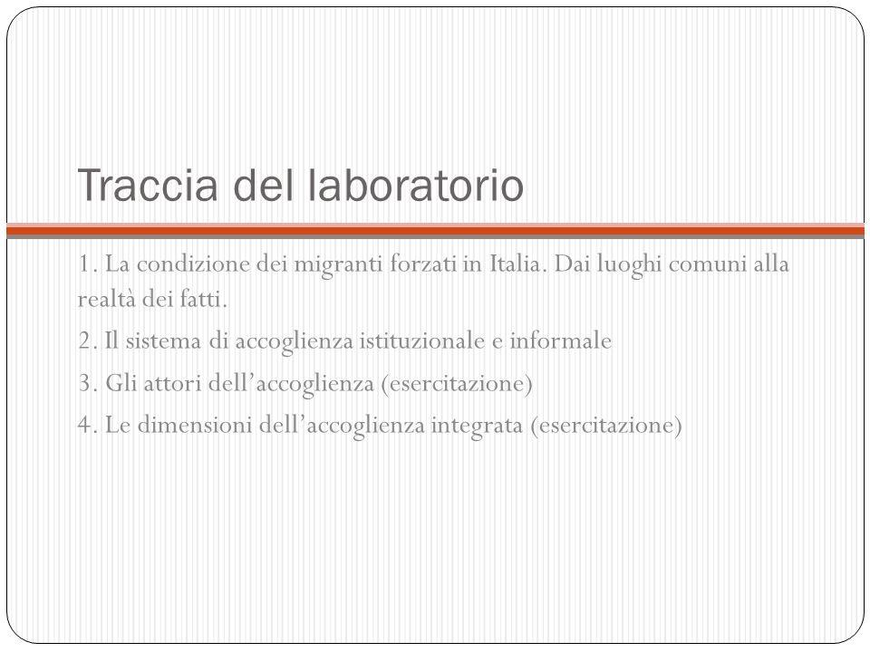 Traccia del laboratorio 1. La condizione dei migranti forzati in Italia. Dai luoghi comuni alla realtà dei fatti. 2. Il sistema di accoglienza istituz
