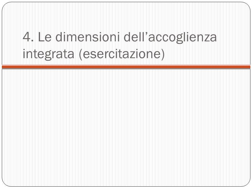 4. Le dimensioni dellaccoglienza integrata (esercitazione)