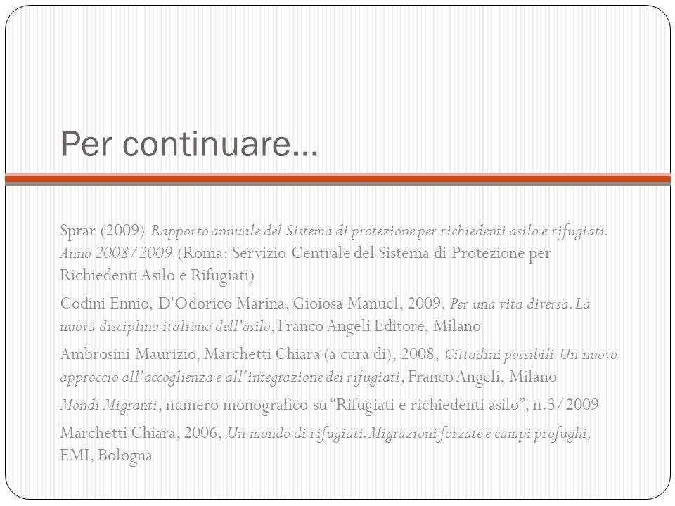 Per continuare… Sprar (2009) Rapporto annuale del Sistema di protezione per richiedenti asilo e rifugiati. Anno 2008/2009 (Roma: Servizio Centrale del