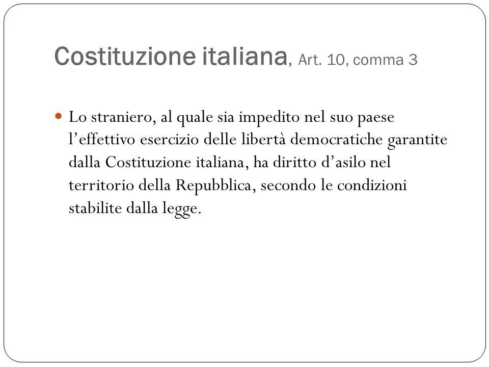 Costituzione italiana,Art. 10, comma 3 Lo straniero, al quale sia impedito nel suo paese leffettivo esercizio delle libertà democratiche garantite dal
