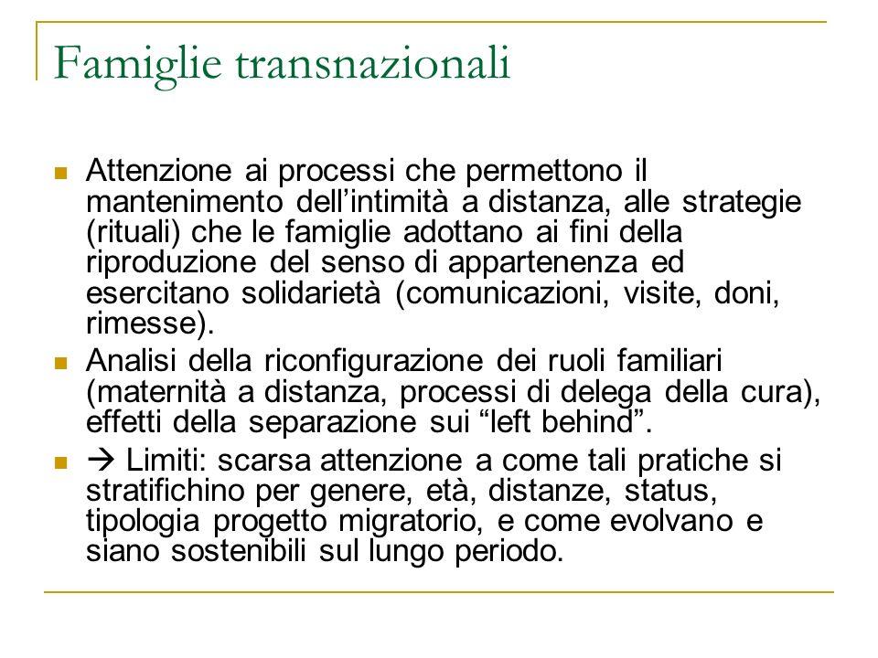 Famiglie transnazionali Attenzione ai processi che permettono il mantenimento dellintimità a distanza, alle strategie (rituali) che le famiglie adotta