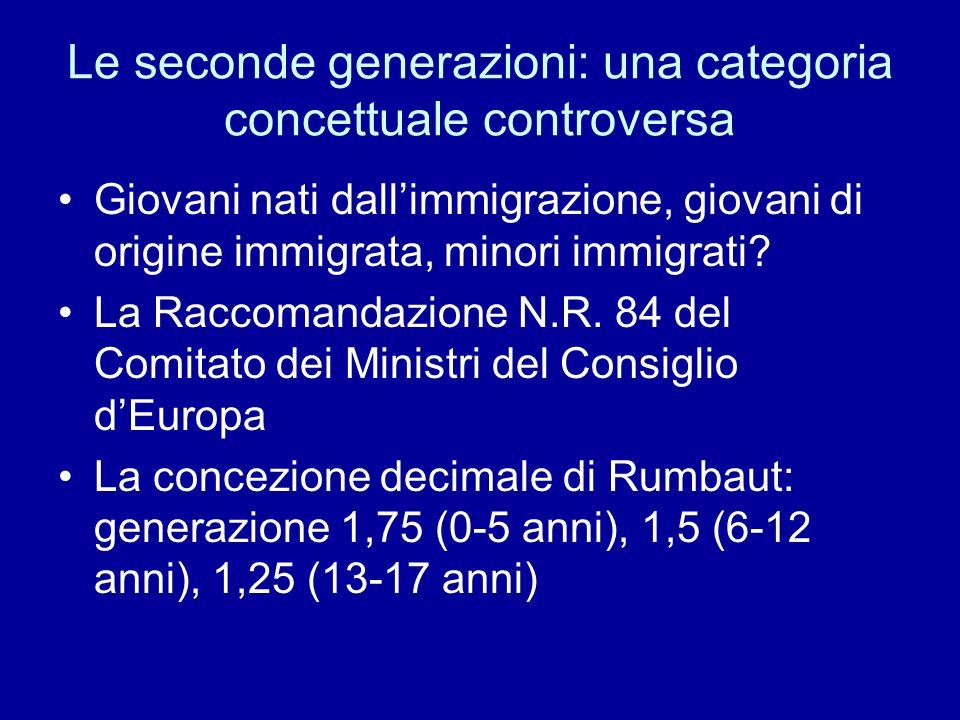 Le seconde generazioni: una categoria concettuale controversa Giovani nati dallimmigrazione, giovani di origine immigrata, minori immigrati? La Raccom