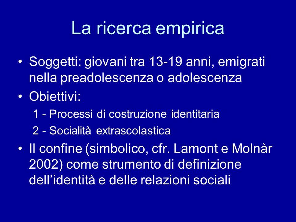 La ricerca empirica Soggetti: giovani tra 13-19 anni, emigrati nella preadolescenza o adolescenza Obiettivi: 1 - Processi di costruzione identitaria 2