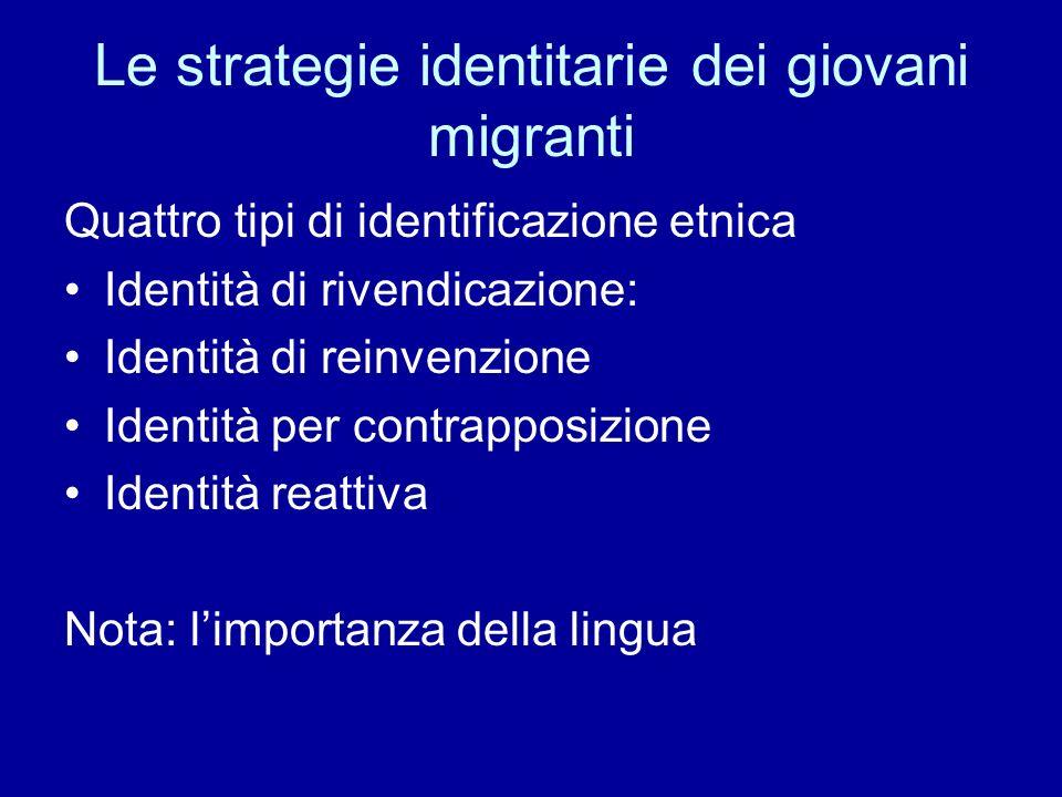 Le strategie identitarie dei giovani migranti Quattro tipi di identificazione etnica Identità di rivendicazione: Identità di reinvenzione Identità per