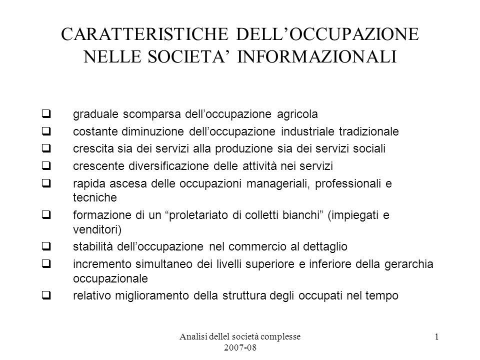 Analisi dellel società complesse 2007-08 1 CARATTERISTICHE DELLOCCUPAZIONE NELLE SOCIETA INFORMAZIONALI graduale scomparsa delloccupazione agricola co