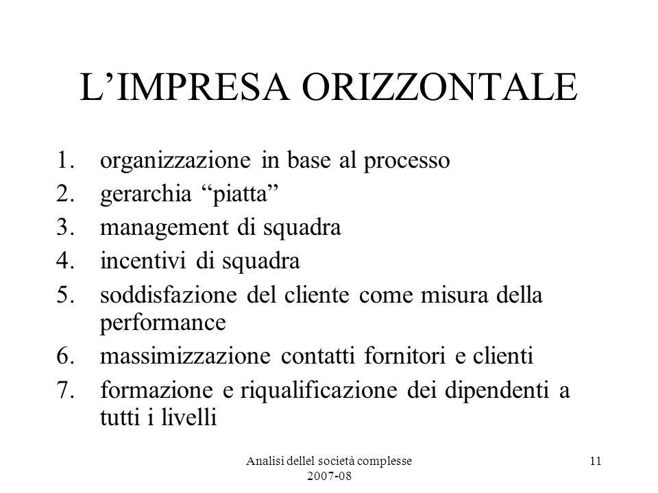 Analisi dellel società complesse 2007-08 11 LIMPRESA ORIZZONTALE 1.organizzazione in base al processo 2.gerarchia piatta 3.management di squadra 4.inc