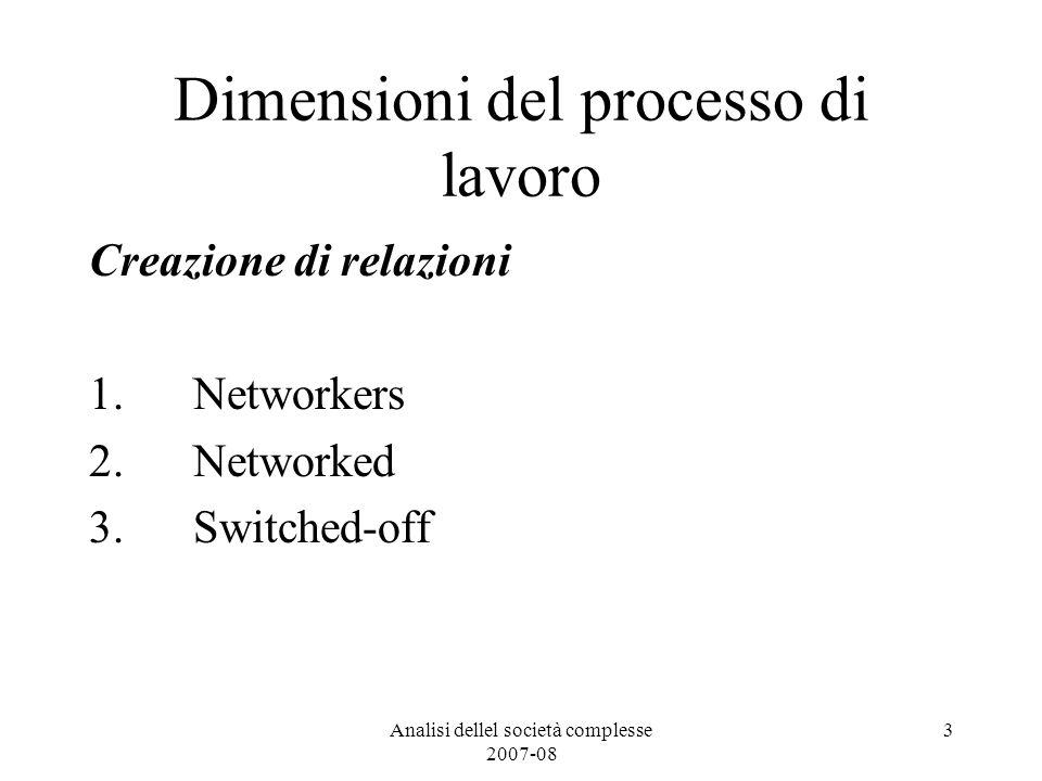 Analisi dellel società complesse 2007-08 3 Dimensioni del processo di lavoro Creazione di relazioni 1.