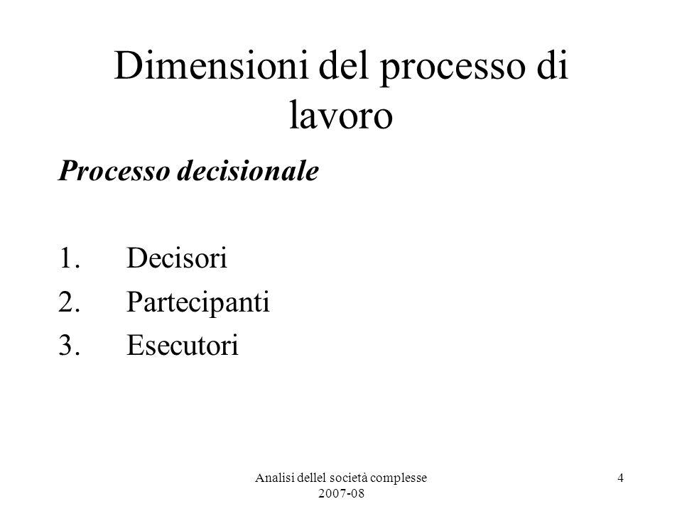 Analisi dellel società complesse 2007-08 4 Dimensioni del processo di lavoro Processo decisionale 1. Decisori 2. Partecipanti 3. Esecutori