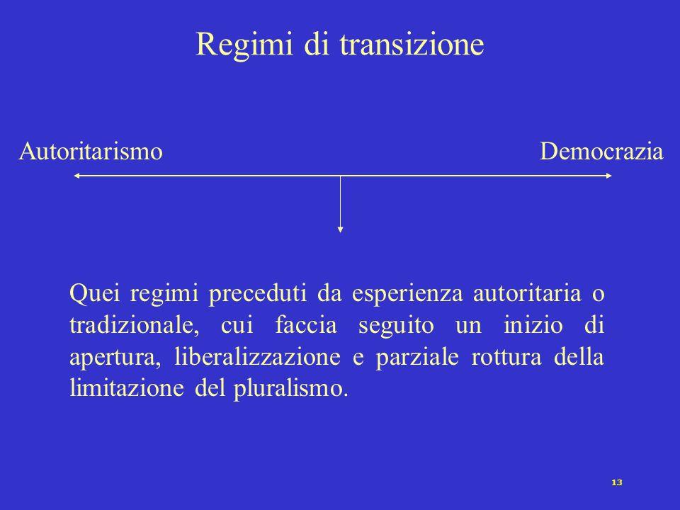 12 I regimi autoritari e i militari Nella maggior parte dei regimi autoritari del secondo dopoguerra le organizzazioni militari svolgono un ruolo esse