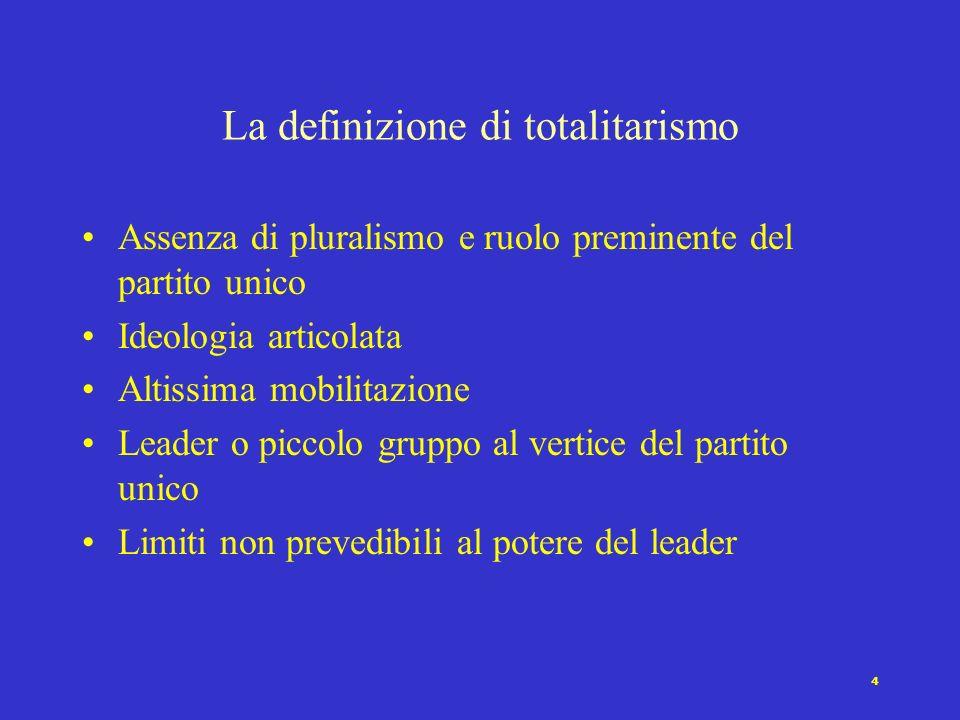 3 La definizione di autoritarismo variabili rilevanti [Linz 1964] Pluralismo limitato Mentalità caratteristiche Assenza o limitata presenza di mobilit