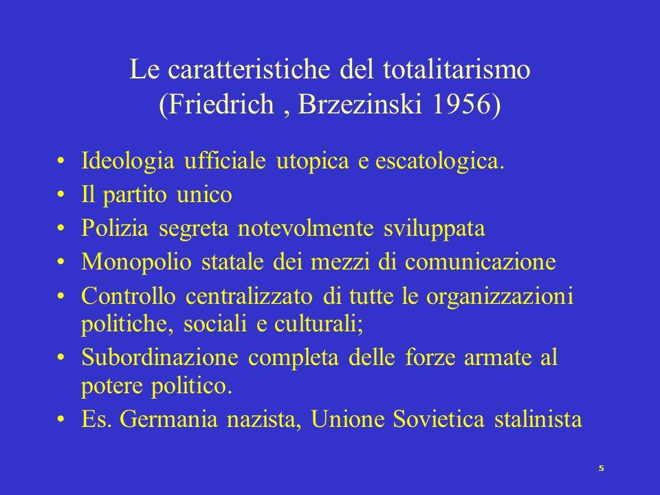 4 Assenza di pluralismo e ruolo preminente del partito unico Ideologia articolata Altissima mobilitazione Leader o piccolo gruppo al vertice del parti
