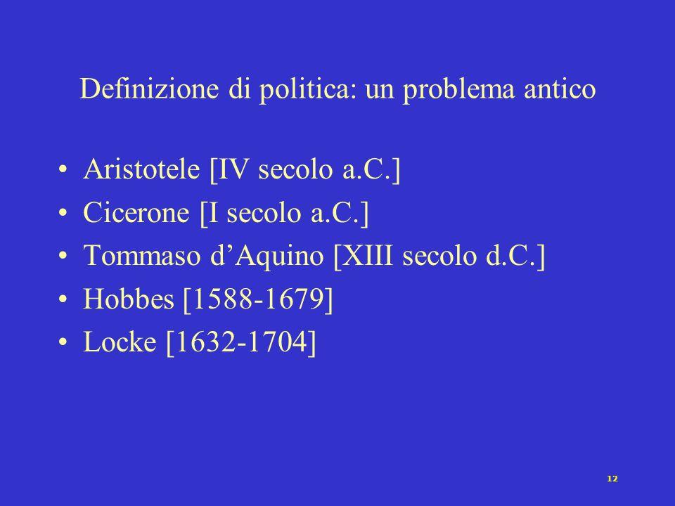 12 Definizione di politica: un problema antico Aristotele [IV secolo a.C.] Cicerone [I secolo a.C.] Tommaso dAquino [XIII secolo d.C.] Hobbes [1588-1679] Locke [1632-1704]