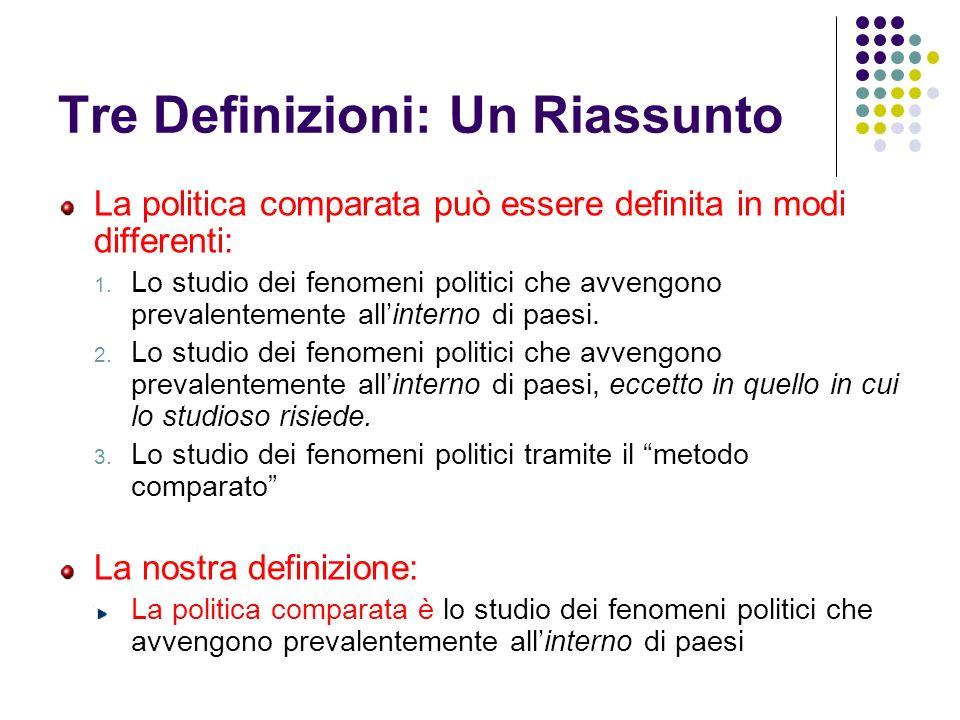 Tre Definizioni: Un Riassunto La politica comparata può essere definita in modi differenti: 1. Lo studio dei fenomeni politici che avvengono prevalent