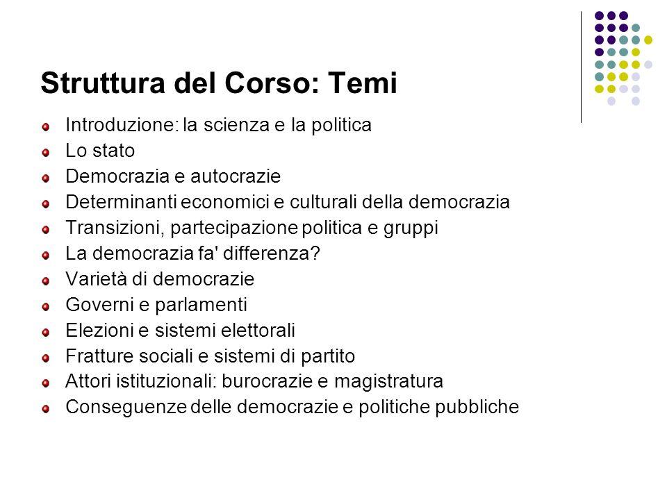 Struttura del Corso: Temi Introduzione: la scienza e la politica Lo stato Democrazia e autocrazie Determinanti economici e culturali della democrazia