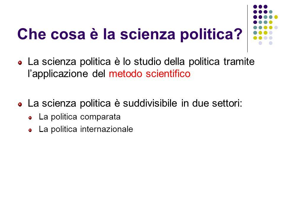 Che cosa è la scienza politica? La scienza politica è lo studio della politica tramite lapplicazione del metodo scientifico La scienza politica è sudd
