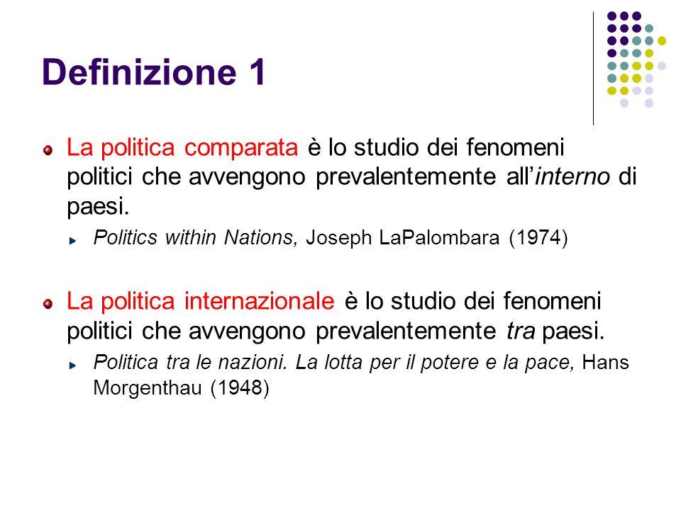 Definizione 1 La politica comparata è lo studio dei fenomeni politici che avvengono prevalentemente allinterno di paesi. Politics within Nations, Jose