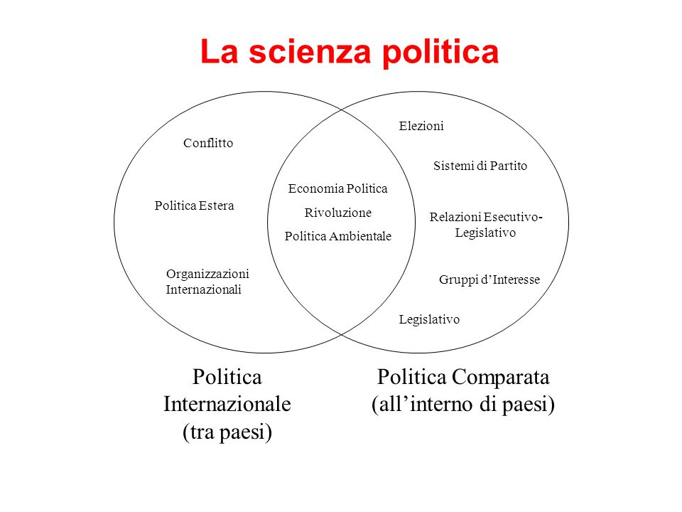 La scienza politica Politica Comparata (allinterno di paesi) Politica Internazionale (tra paesi) Economia Politica Rivoluzione Politica Ambientale Conflitto Politica Estera Organizzazioni Internazionali Elezioni Sistemi di Partito Relazioni Esecutivo- Legislativo Gruppi dInteresse Legislativo