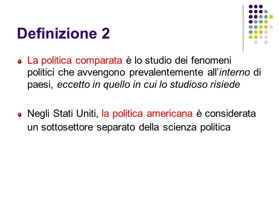 Definizione 2 La politica comparata è lo studio dei fenomeni politici che avvengono prevalentemente allinterno di paesi, eccetto in quello in cui lo s