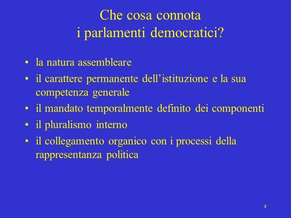 12 Le funzioni del parlamento Elettiva Espressiva Educativa Informativa Legislativa Finanziaria Funzione rappresentativa Funzione di policy making Funzione di controllo sul governo