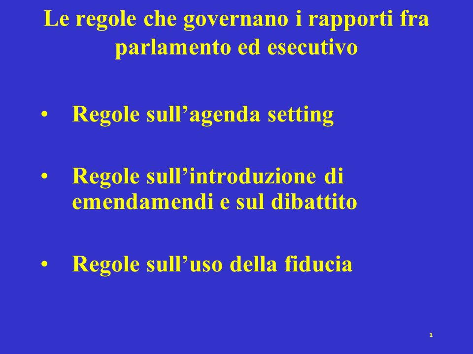 1 Le regole che governano i rapporti fra parlamento ed esecutivo Regole sullagenda setting Regole sullintroduzione di emendamendi e sul dibattito Regole sulluso della fiducia