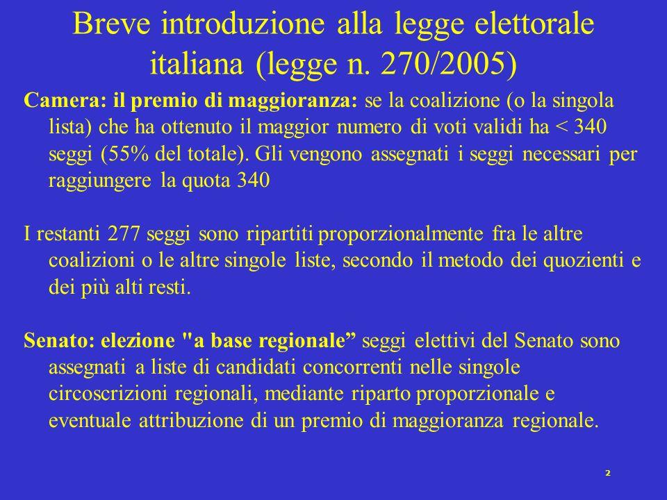 2 Camera: il premio di maggioranza: se la coalizione (o la singola lista) che ha ottenuto il maggior numero di voti validi ha < 340 seggi (55% del totale).