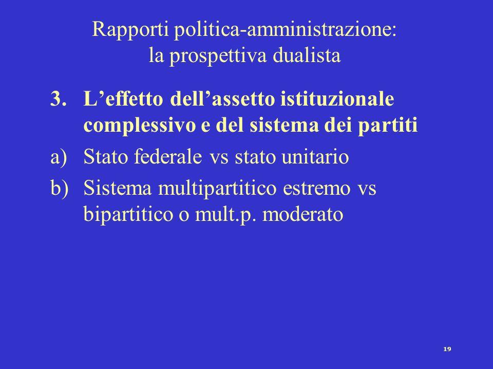 18 Rapporti politica-amministrazione: la prospettiva dualista 2.Analisi delle risorse di cui dispongono le due classi di attori nel processo decisiona