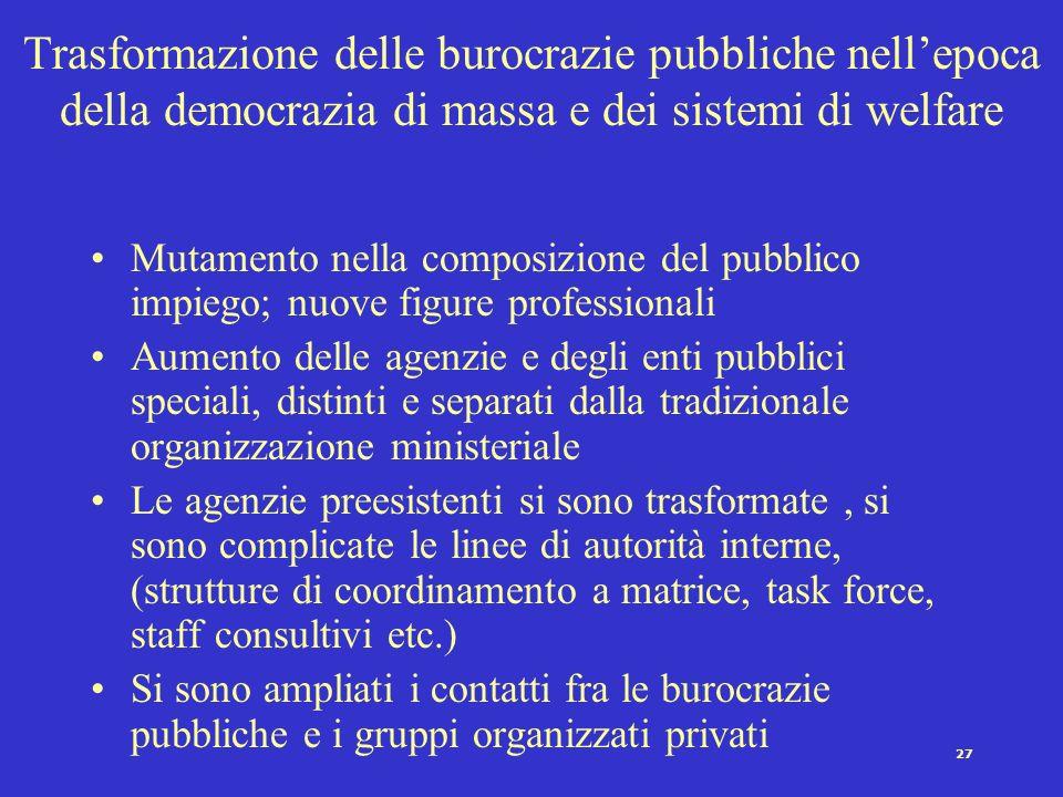 26 Rapporti politica-amministrazione: la prospettiva della politica burocratica Sono riconducibili a questa prospettiva coloro che non ritengono possi