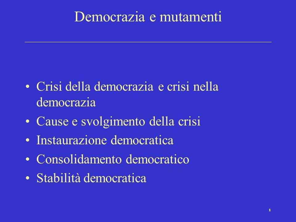 1 Democrazia e mutamenti Crisi della democrazia e crisi nella democrazia Cause e svolgimento della crisi Instaurazione democratica Consolidamento democratico Stabilità democratica
