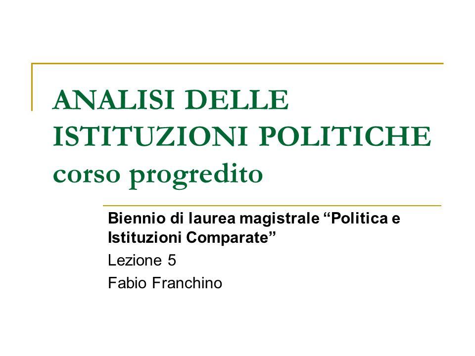 ANALISI DELLE ISTITUZIONI POLITICHE corso progredito Biennio di laurea magistrale Politica e Istituzioni Comparate Lezione 5 Fabio Franchino