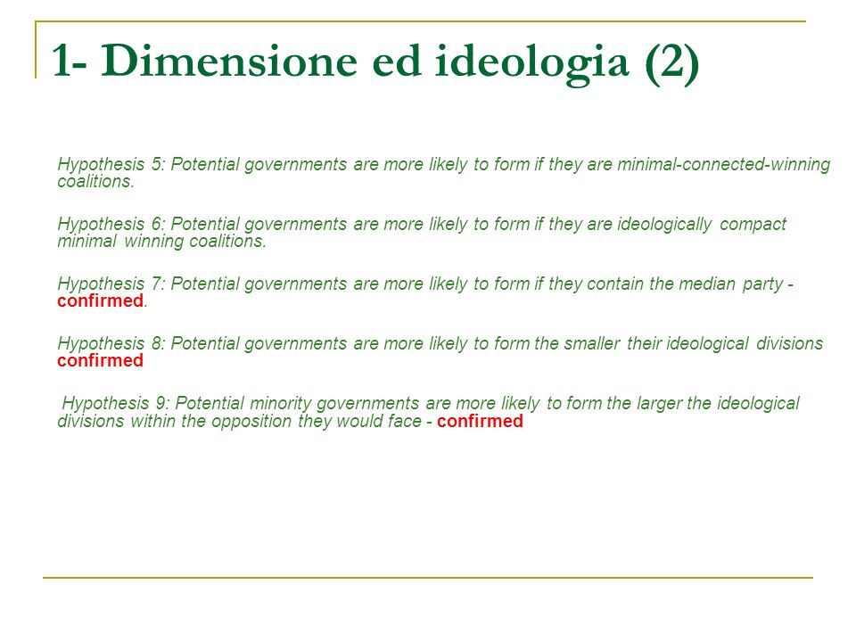 1- Dimensione ed ideologia (2) Hypothesis 5: Potential governments are more likely to form if they are minimal-connected-winning coalitions. Hypothesi