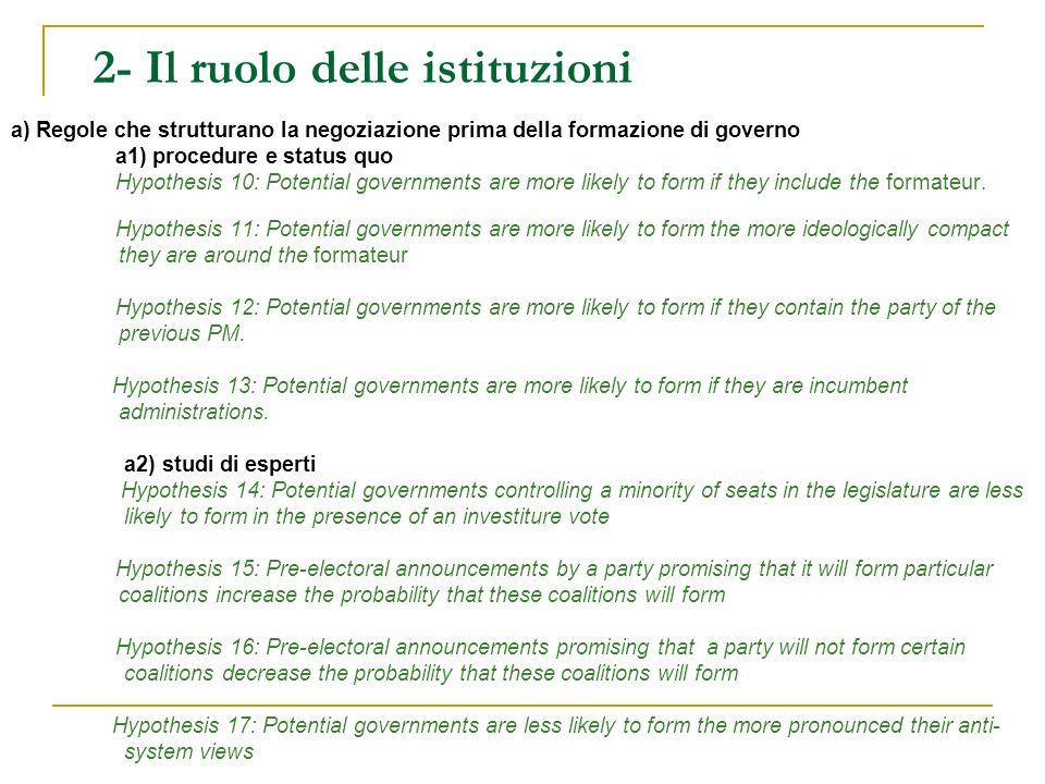 2- Il ruolo delle istituzioni a) Regole che strutturano la negoziazione prima della formazione di governo a1) procedure e status quo Hypothesis 10: Potential governments are more likely to form if they include the formateur.