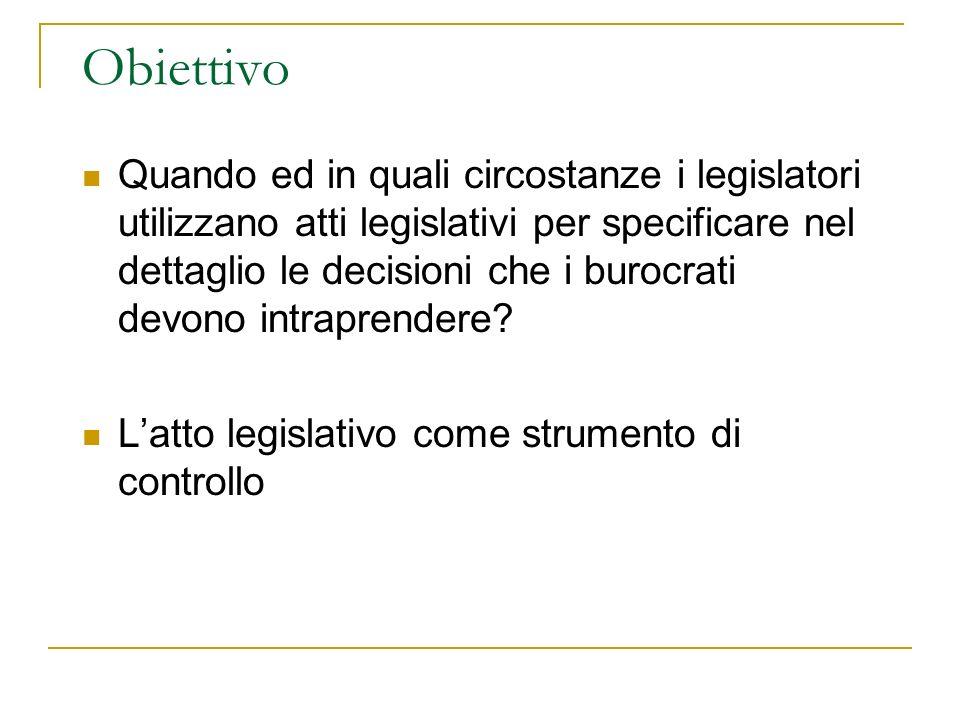 Obiettivo Quando ed in quali circostanze i legislatori utilizzano atti legislativi per specificare nel dettaglio le decisioni che i burocrati devono i