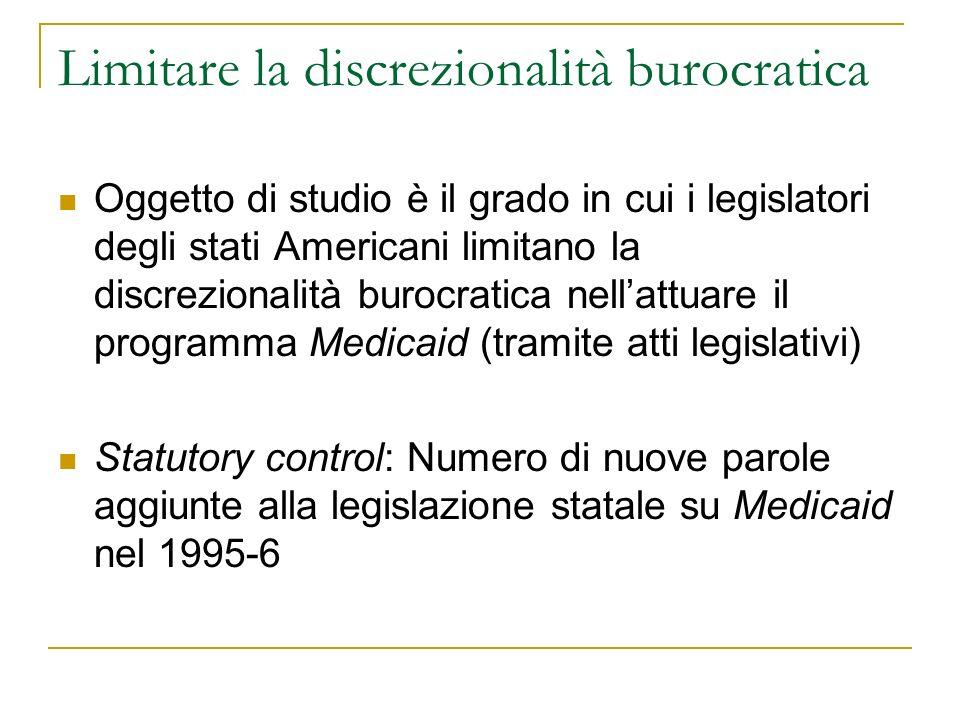 Limitare la discrezionalità burocratica Oggetto di studio è il grado in cui i legislatori degli stati Americani limitano la discrezionalità burocratic