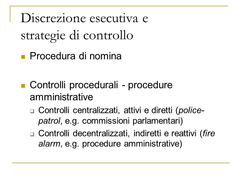 Discrezione esecutiva e strategie di controllo Procedura di nomina Controlli procedurali - procedure amministrative Controlli centralizzati, attivi e