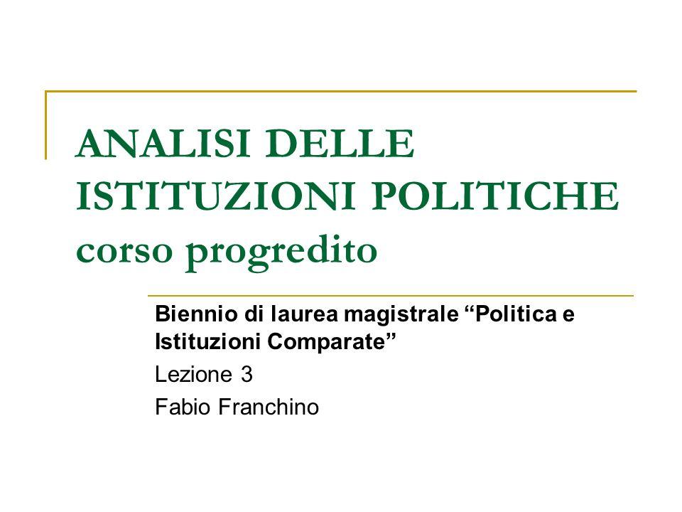 ANALISI DELLE ISTITUZIONI POLITICHE corso progredito Biennio di laurea magistrale Politica e Istituzioni Comparate Lezione 3 Fabio Franchino