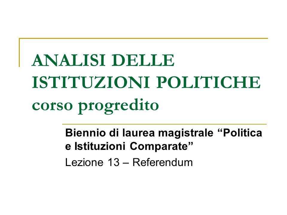 ANALISI DELLE ISTITUZIONI POLITICHE corso progredito Biennio di laurea magistrale Politica e Istituzioni Comparate Lezione 13 – Referendum