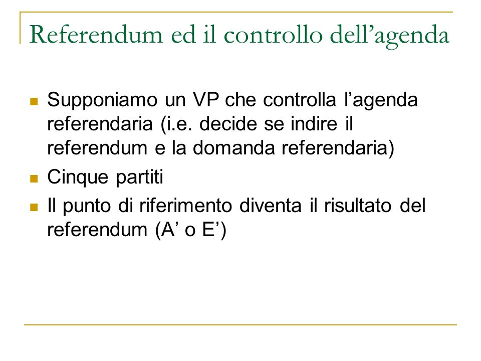 Referendum ed il controllo dellagenda Supponiamo un VP che controlla lagenda referendaria (i.e.