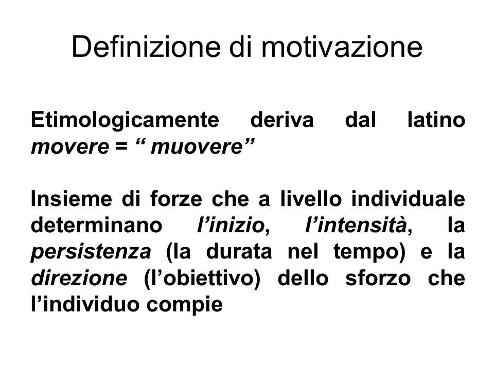 Definizione di motivazione Etimologicamente deriva dal latino movere = muovere Insieme di forze che a livello individuale determinano linizio, lintens