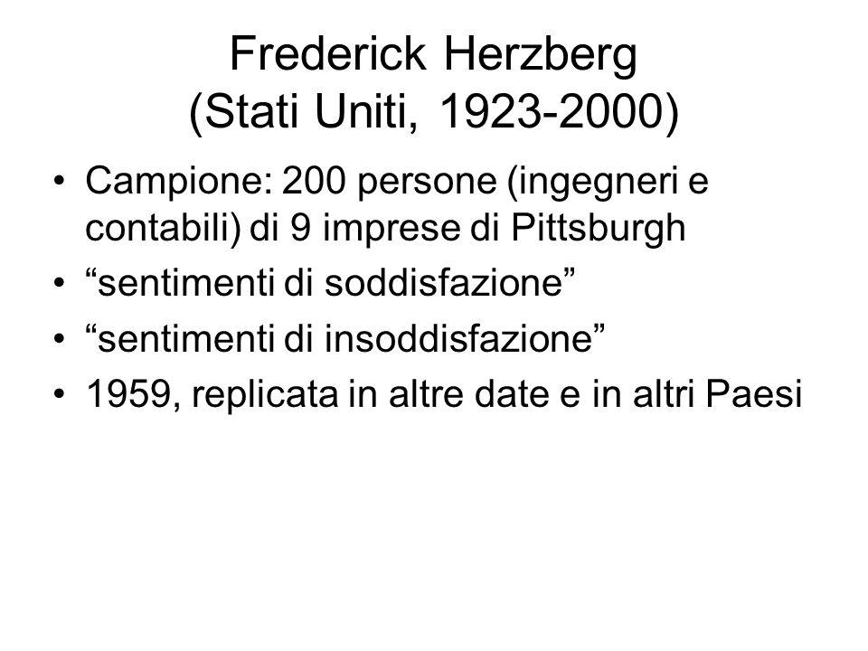 Frederick Herzberg (Stati Uniti, 1923-2000) Campione: 200 persone (ingegneri e contabili) di 9 imprese di Pittsburgh sentimenti di soddisfazione senti