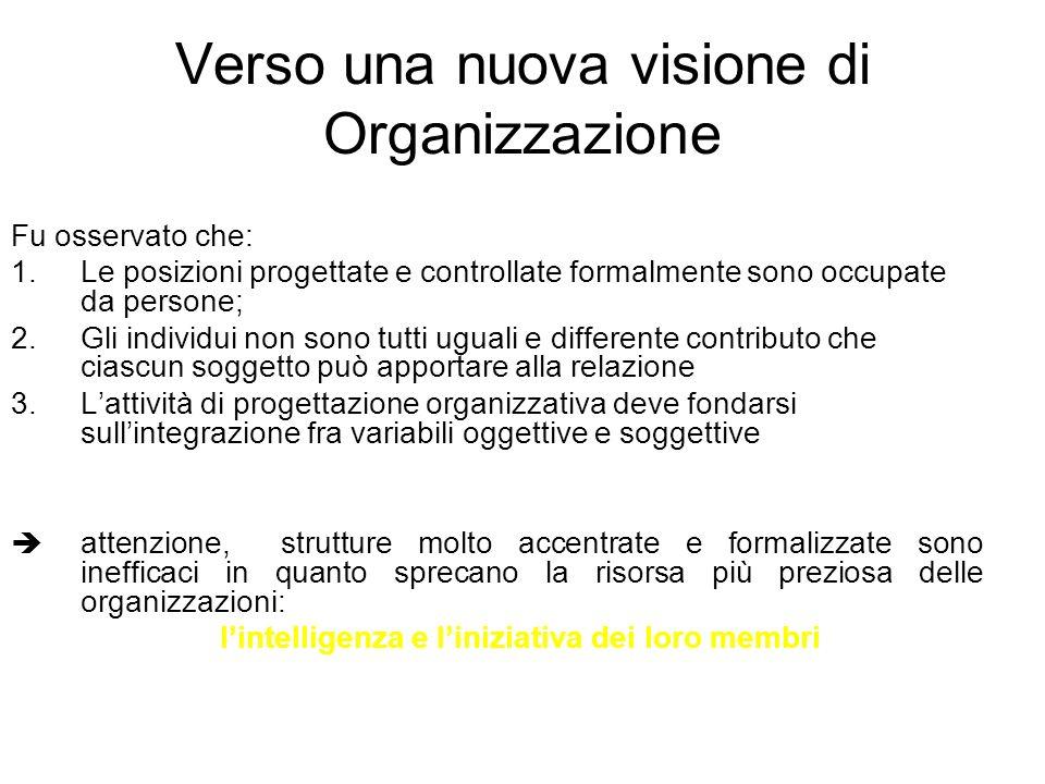 Verso una nuova visione di Organizzazione Fu osservato che: 1.Le posizioni progettate e controllate formalmente sono occupate da persone; 2.Gli indivi
