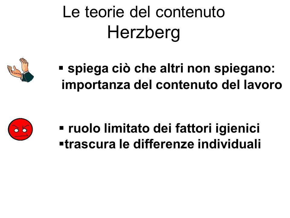 Le teorie del contenuto Herzberg spiega ciò che altri non spiegano: importanza del contenuto del lavoro ruolo limitato dei fattori igienici trascura l