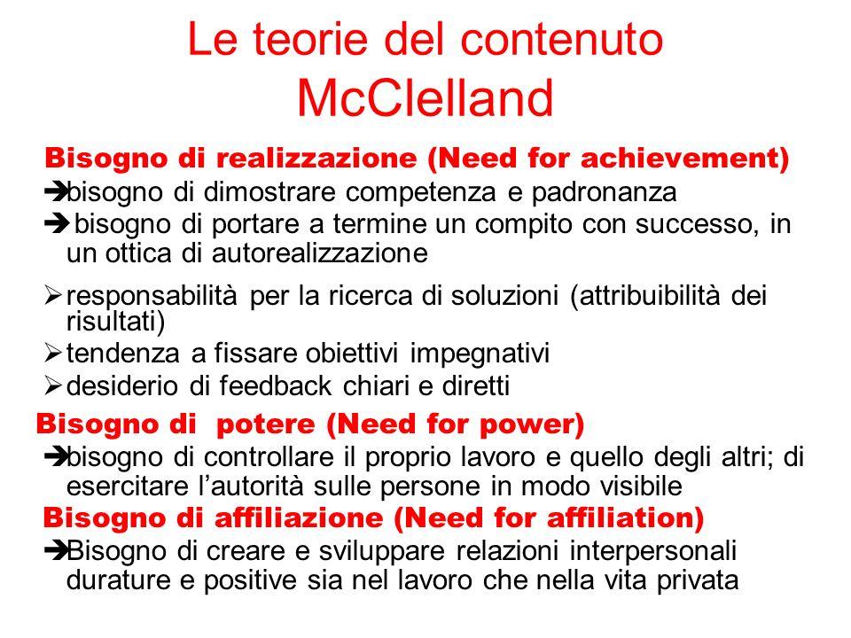 Le teorie del contenuto McClelland Bisogno di realizzazione (Need for achievement) bisogno di dimostrare competenza e padronanza bisogno di portare a
